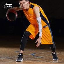 Li-Ning, мужские баскетбольные костюмы для соревнований, 2 штуки, полиэстер, дышащий жилет+ шорты, подкладка, спортивные комплекты, AATP001 CJFM19