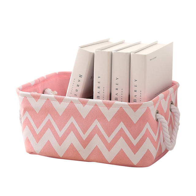 Pink Folding Canvas Cotton Linen Laundry Basket Baby Kids Toys Clothes  Organizer Storage Box With Fabric