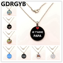 GDRGYB 2019 new fashion je t'aime papa necklace fathers gifts j'ai un super papa necklace holder for dad men jewelry gdrgyb 2019 exquisite fashion i love daddy this much necklace men jewelry je suis un papa qui dechire necklace holder dad