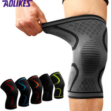 AOLIKES 1Pc Knee Support Knee Pad Brace Kneepad Gym Weight lifting Knee Wraps Bandage Straps Guard Compression Knee Sleeve Brace cheap Nylon latex silk spandex Silicone Adult A-7718