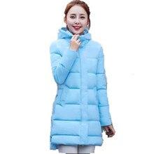 Женская Зимняя Куртка 2016 Новый Средней Длины Вниз Хлопок Куртка Плюс Размер Пальто С Капюшоном Тонкий Дамы Повседневные Куртки верхняя одежда A1810