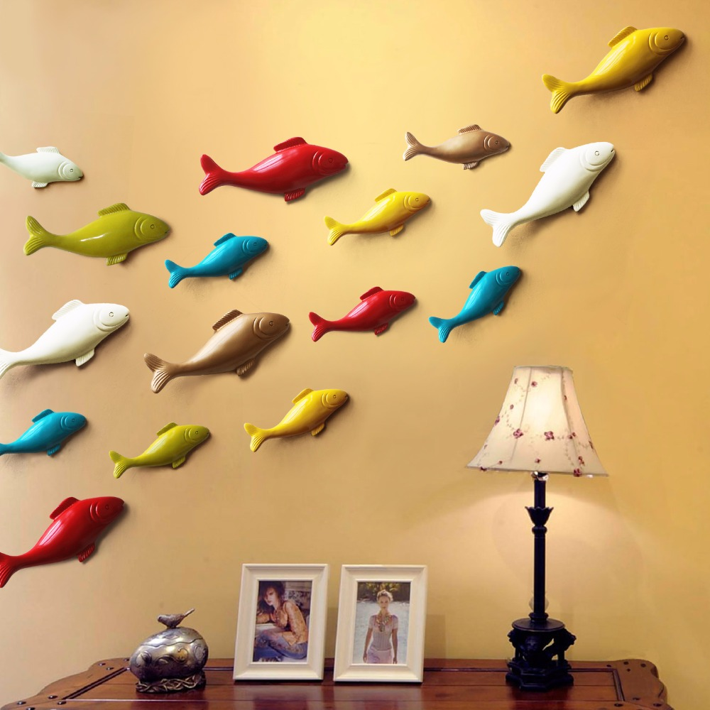 Hot Sale Color fish wall decoration wall decoration three ...