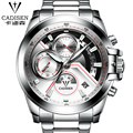 New Multifunction Swiss brand quartz watches Business luminous men's watches Stainless steel with leather watch Waterproof watch