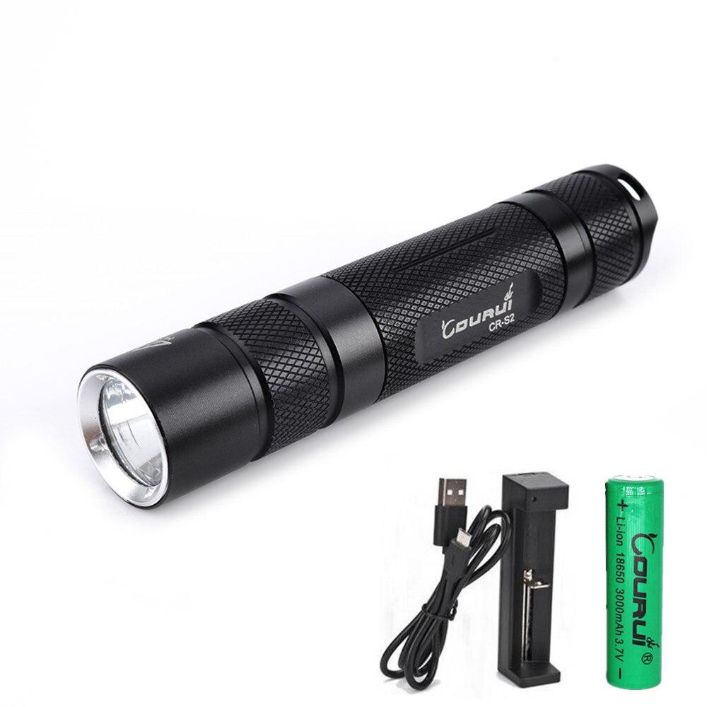 2017 New COURUI CR-S2 CREE XPL V6/1A  EDC White LED Flashlight +18650 battery +USB Charger astrolux s2 cree xpl hi 1400lm edc led flashlight 18650