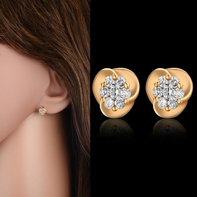 High End Aaa Zircon Small Stud Earrings Fashion Ear Studs Women Penntes Mujer Moda