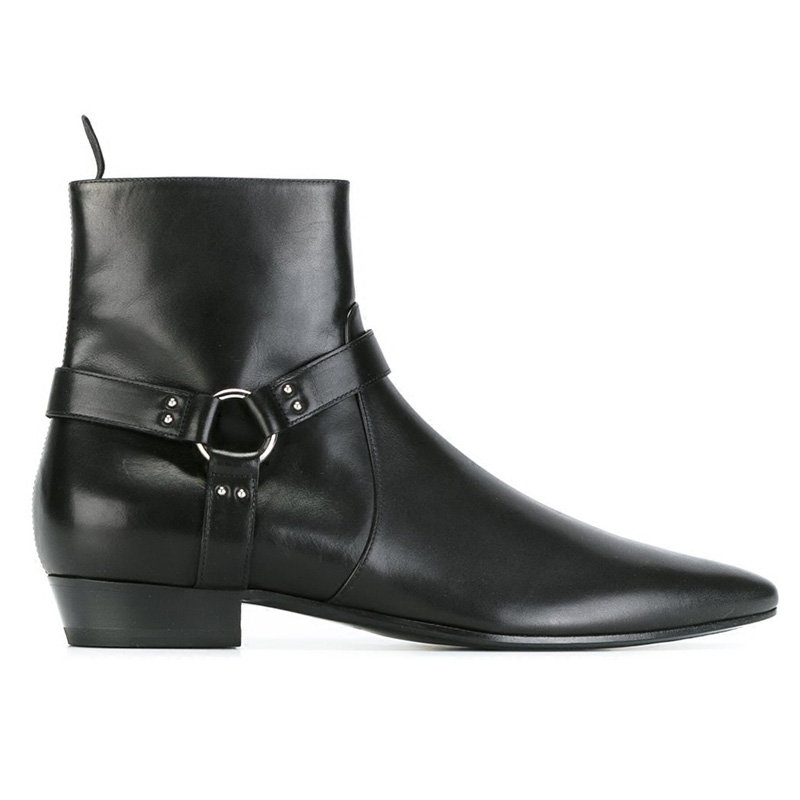 New Arrival Famous Handmade brand Mens Chelsea Boots Pointed Black leaher Mens Bukcle Slp Kanye west Shoes