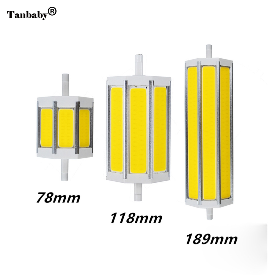 Tanbaby R7S COB led bulb R7S led lights 78mm118mm 189mm 10W 15W 20W light lighting lamp AC85-265V replace halogen floodlight high power dimmable 189mm led r7s light 50w cob r7s led lamp with cooling fan replace 500w halogen lamp
