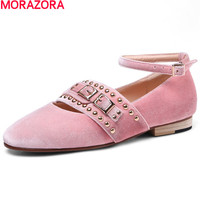 MORAZORA 새로운 도착 큰 크기 34-43 달콤한 레이디 낮은 뒤꿈치 신발 여성 버클 리벳 레저 신발 최고 품질 뜨거운 판매 신발