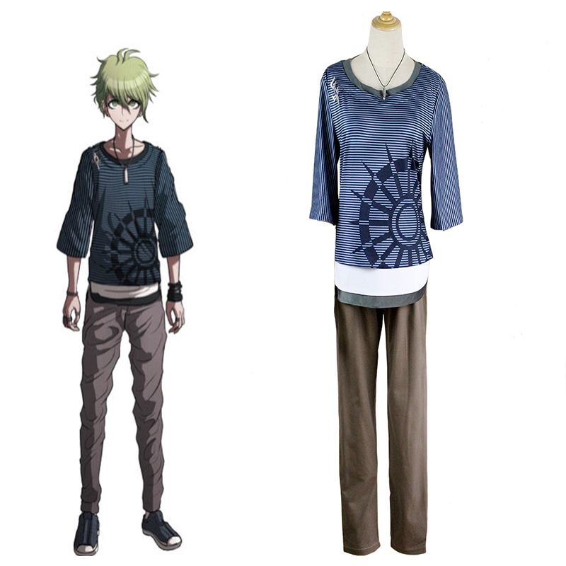 New Danganronpa V3 Rantaro Amami Cosplay Costume Halloween Uniform Outfit T-shirt+Pants+Necklace