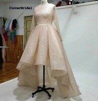 CloverBridal Real Photos 2017 Fashion Gold Court Train O Neck Wedding Dress Short Front Long Back