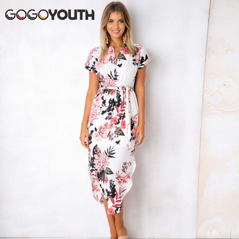 Gogoyouth Long Bohemian Women Summer Dress 2018 Vintage Plus Size Tunic Beach Dress And Sundress Black Party Dress Robe Femme 2
