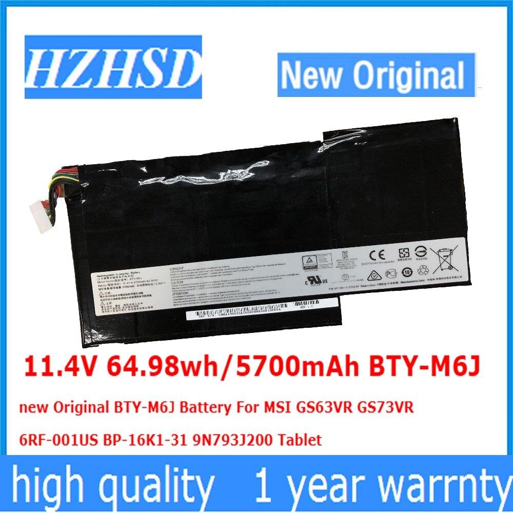 11.4 v 64.98wh/5700 mah BTY-M6J BTY-M6J novo Original Bateria Para MSI GS63VR GS73VR 6RF-001US BP-16K1-31 9N793J200 Tablet