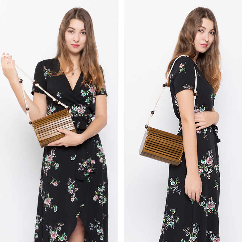 Женская бамбуковая сумка через плечо Lovevook, летние выходные небольшая сумочка  с плечевым ремнем на плечо из деревнии , пляжные сумки ручной работы с откидной крышкой для путешествия, 2019