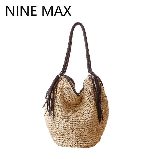 Handmade Native Paper String Weave Pure Color Simplicity Totes Quality Fashion Magazine Woman Bag Minimalism Tassel Lady Handbag