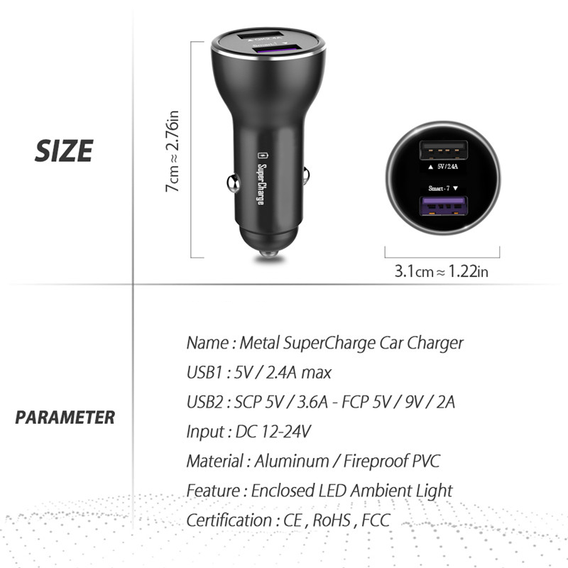 For Huawei Supercharge Car Charger Metal FCP Fast Charger for Huawei P20 P10 P9 Plus Mate 10 9 8 Pro Honor V10 10 9 V9 V8 Note 8 Pakistan