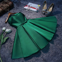 Green 2018 New Arrival Maid of Honer Short Sleeve Button Bow Off shoulder Bridesmaid Dress for women wedding Party Dress