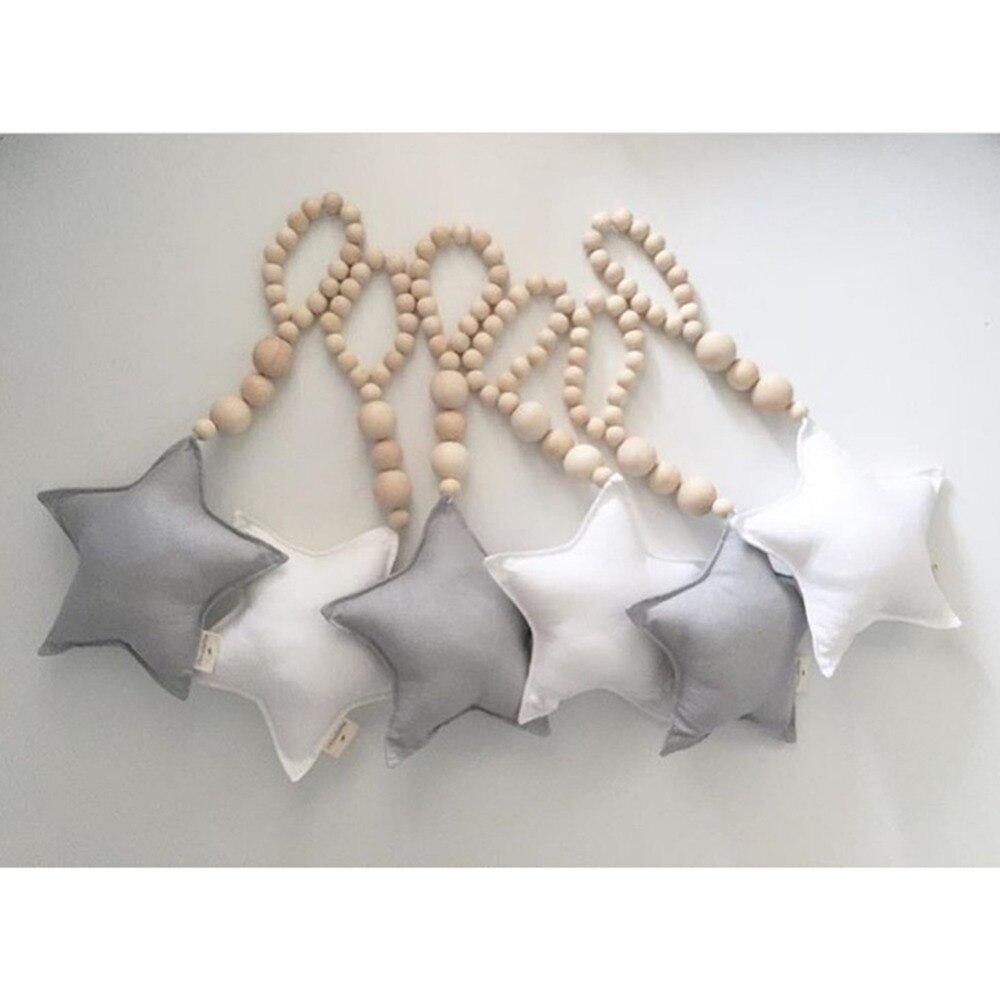 Bescheiden Sterren Hart Houten Baby Kamer Opknoping Wanddecoraties Moderne Thuis Ornamenten Decor Woonkamer Kids Bed Geschenken