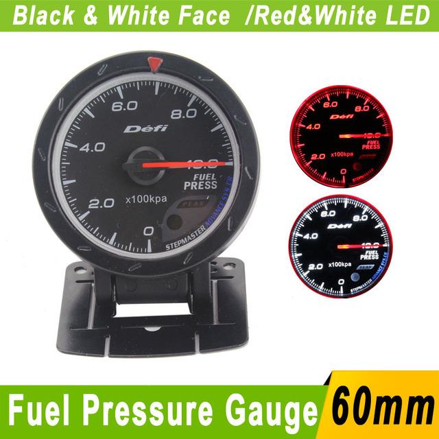 Medidor de Pressão De combustível 60mm Com Sensor de Pressão De Combustível Do Carro Defi CR medidor de 60mm LED Branco Medidor de Pressão De Combustível Defi Imprensa Calibre Auto