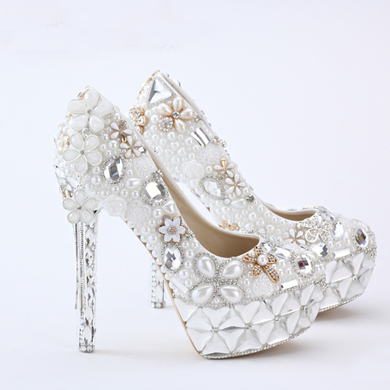 Flower Tassel Pendant 14cm High Heel Prom Party Shoes Bride Wedding Event Pumps White Pearl Bridal Wedding Shoes