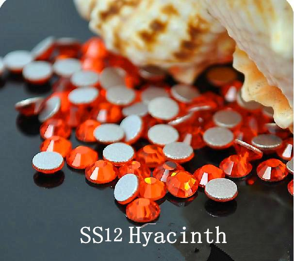 1440pc/bag SS12 3.0-3.2mm Hyacinth Orange Non HotFix FlatBack Rhinestones,Glass Glitter Glue-on Loose Nail Art Crystals Stones ss12 3 2mm aqua marine nail rhinestones 1440pcs bag non hotfix flatback crystals glass strass glitters for nail art glue stone