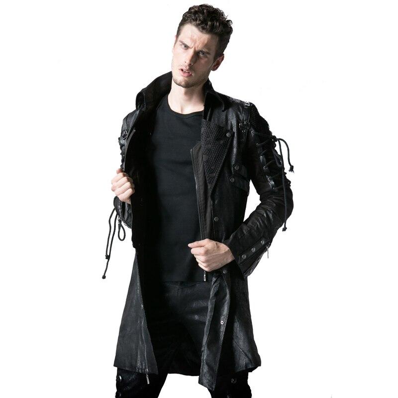 Gothic Retro Style Faux usnjeni dolgi plašči za moške Steampunk - Moška oblačila - Fotografija 2