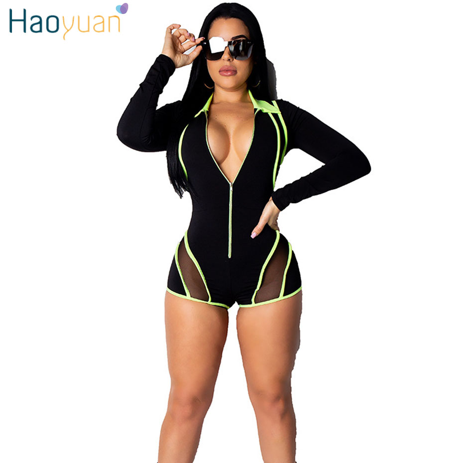 HAOYUAN Neon Green Blue Striped Sexy Playsuit Women Long Sleeve Mesh Elegant Rompers Summer Overalls Plus Size Shorts   Jumpsuit