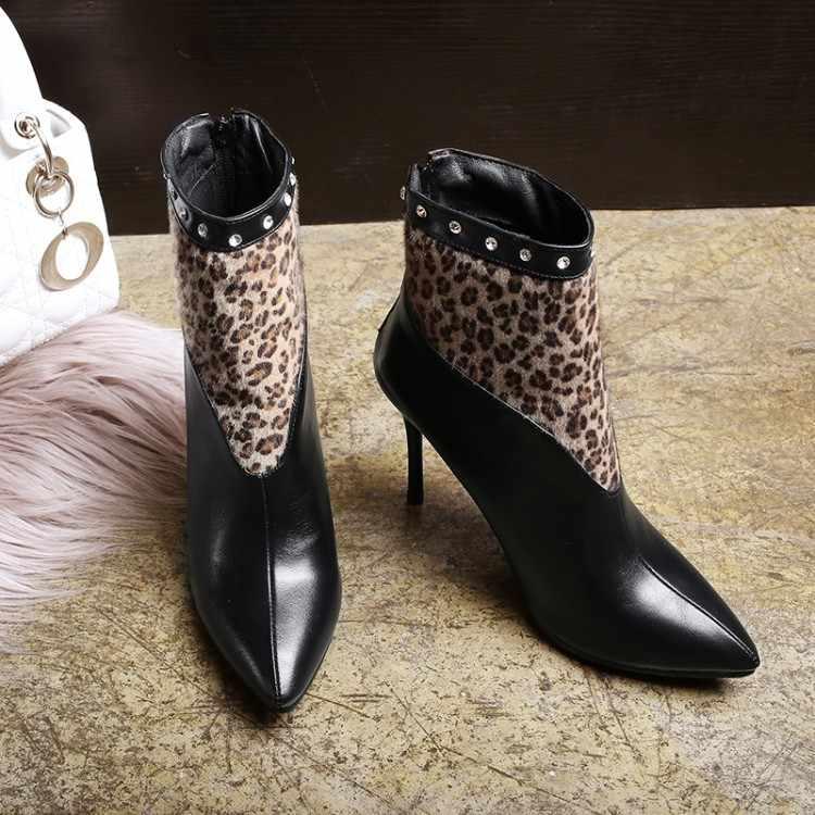 Big Size 9 10 11 12 laarzen vrouwen schoenen enkellaarsjes voor vrouwen dames laarzen Luipaard print stiksels hydraulische boor terug rits