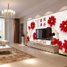 Factory price Customized wallpaper mural Chinese pattern with red flowers behind sofa TV as background livingroom