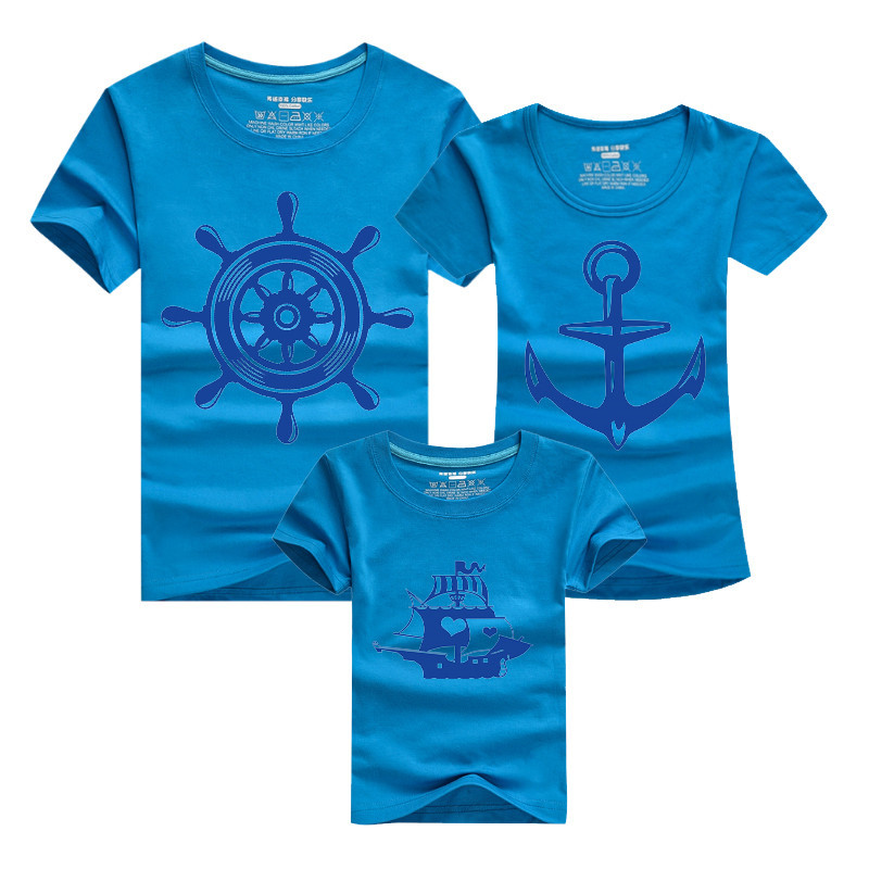 1Piece Summer Family Matching Clothes New Cotton Anchor T Shirts Family Look Father Mother