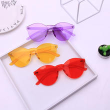 unique rimless sunglasses women 2018 trending products high quality red yellow violet purple orange frameless oculos feminino(China)