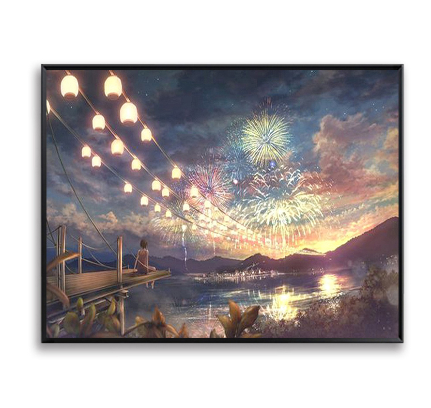 Wall Decor DIY Pictures Painting By Numbers DIY Fireworks Night Scene Canvas Art Coloring By Number Digital Quadros SZH-191