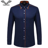 Men S Shirts 2015 Autumn New Fashion Designer High Quality Solid Male Fit Stand Collar Casual