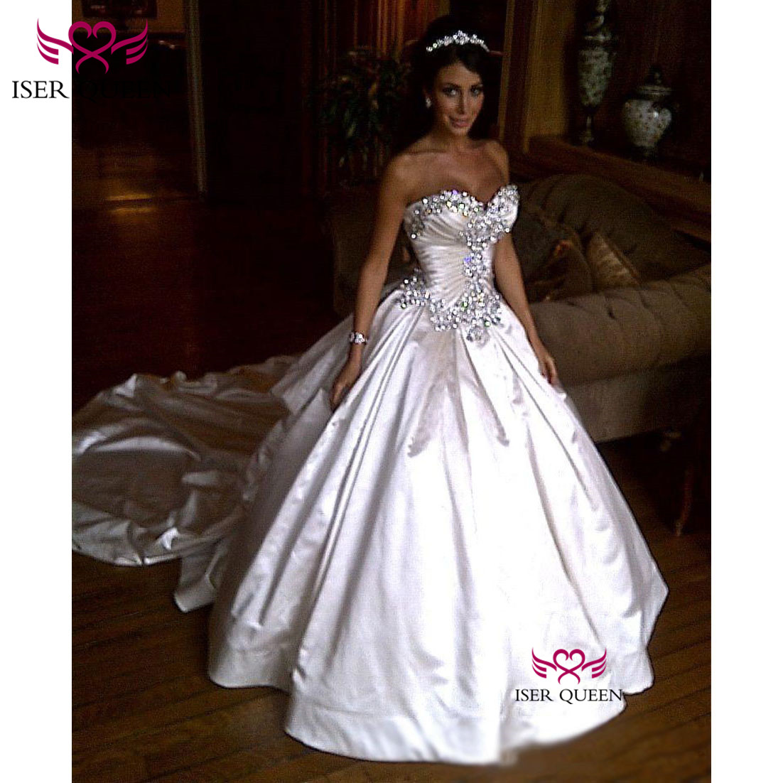 Luxury Champagne Lustrous Satin Glittering Great Crystal Sweetheart Neckline Wedding Dresses Pleat Ball Gown W0345