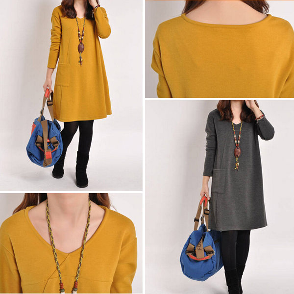 2 Colors Pregnant Women Korean Autumn  loose Big Size Dress Long Sleeve Joint And Under Dress