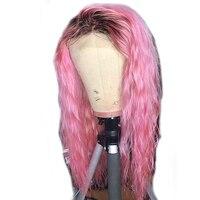 SHD Ombre Lace Frot парик свободный кудрявый кружевной передний цвет человеческие волосы парики бразильские парики Remy розовые кружевные парики для