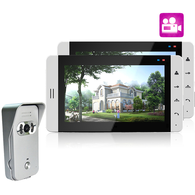 """Fashionable 7"""" LCD Display Video Door Phone System Support Recording And Photo Taking 700TVL Waterproof Camera"""