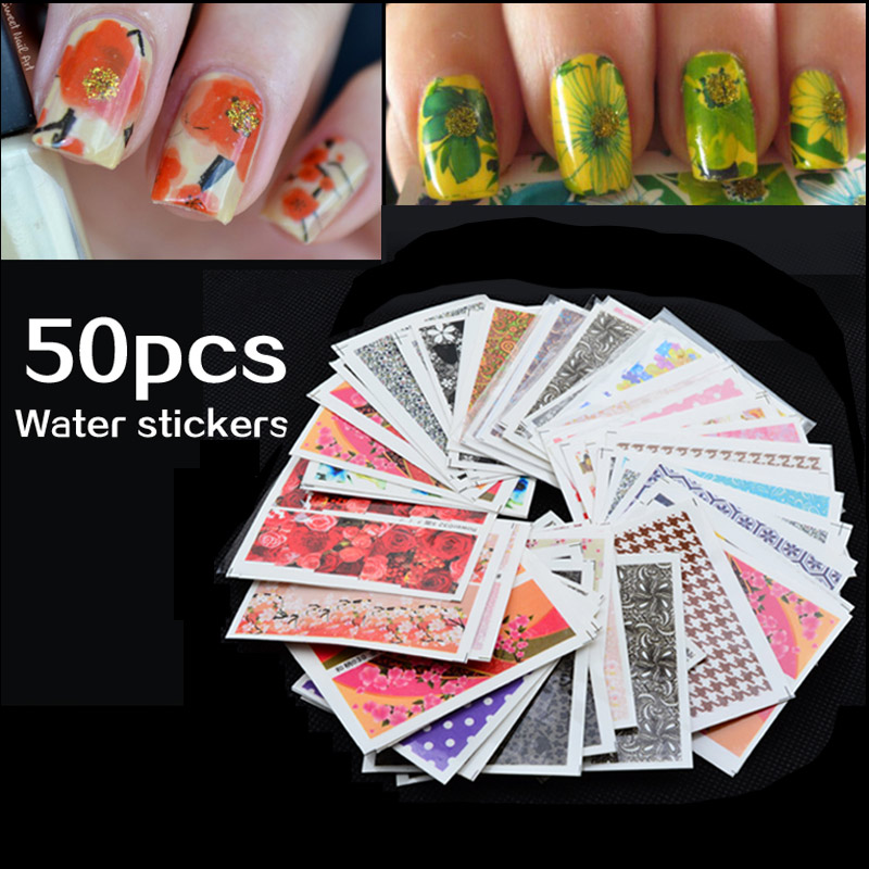 Campuran 50 pcs / pack Nail Art Air Transfer Bunga Desain Nail Sticker Watermark Decals DIY Kecantikan Nail Tips Dekorasi Wraps Alat