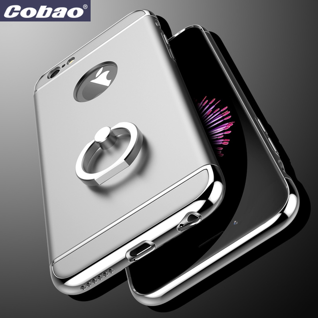 Plated 3 in 1 Ultra Thin Hard Protective Luxury Case Cover for iPhone  6 6S 4.7 with 360 Degree Rotating Metal Ring Kickstand