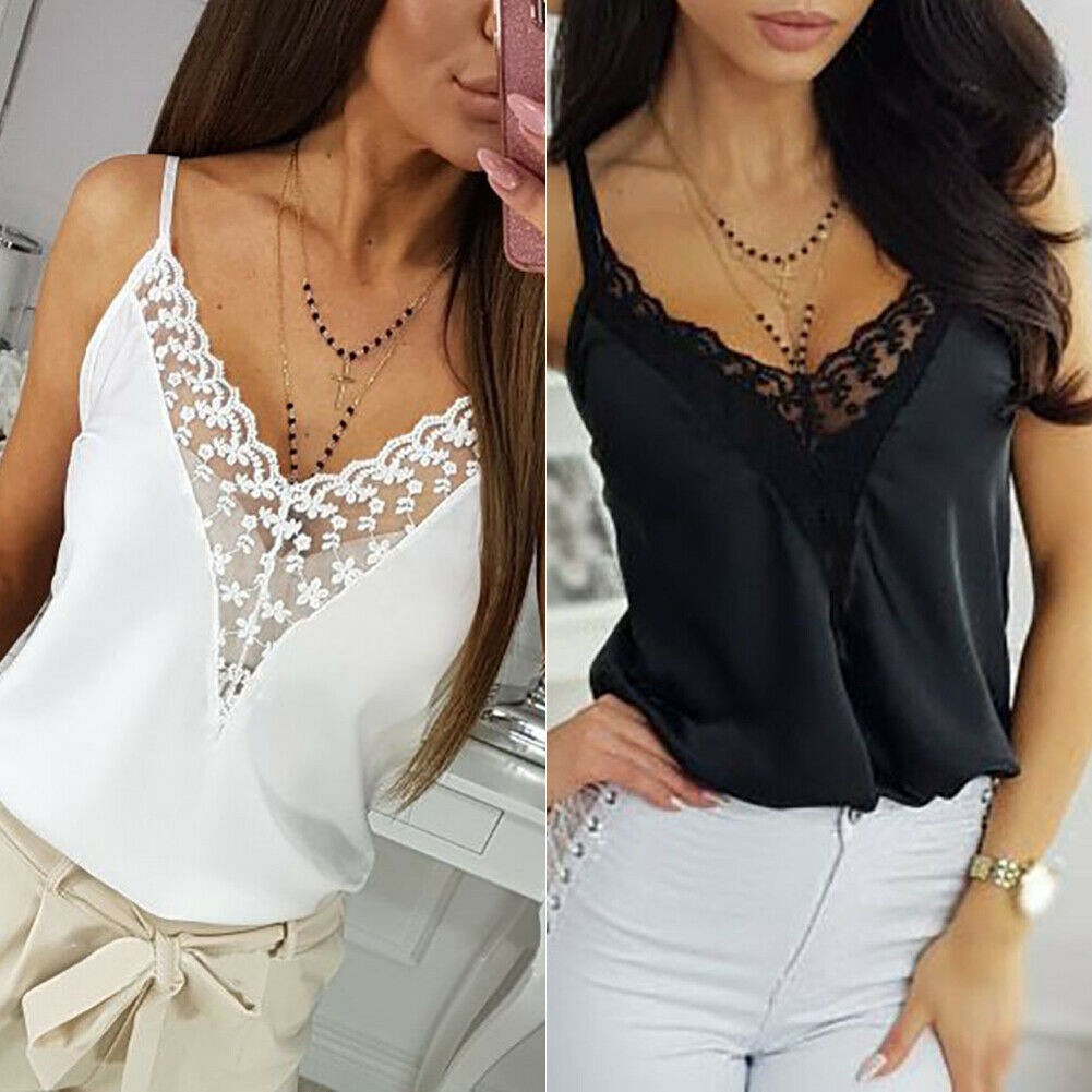 Women Lace Tank Top Cami Camisole Summer Sexy V Neck Basic Solid Halter Strap Tops Ladies V-Neck Sleeveless Shirt