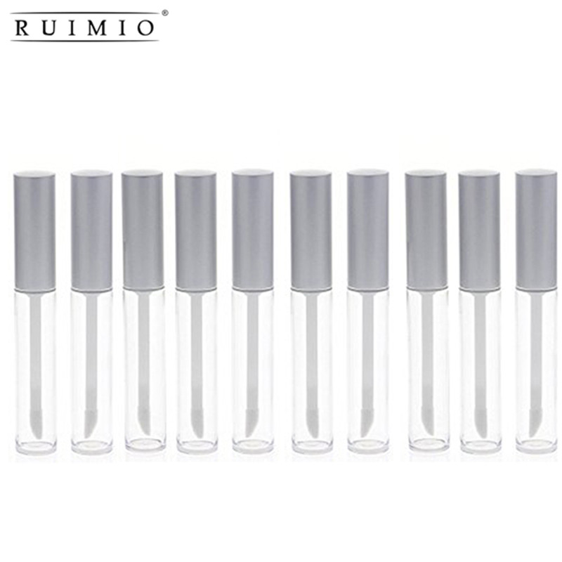 RUIMIO 10pcs 6ml Gloss Lip Balm Tubes Container Gloss Lip Wand Bottles Empty Silver Pretty Clear Tool Mini Refillable Bottles image