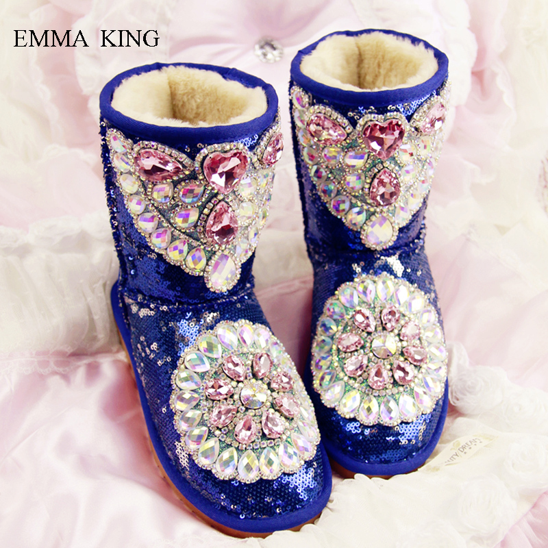 Winter Shoes Women New Hand-studded Gemstone Bling Sequined Decor Flat Heels Shoes Warm Snow Boots Luxury Ankle Boots for WomenWinter Shoes Women New Hand-studded Gemstone Bling Sequined Decor Flat Heels Shoes Warm Snow Boots Luxury Ankle Boots for Women