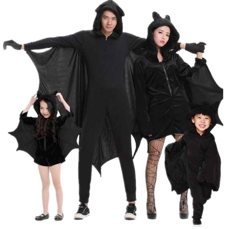 Adogirl Black Bat Clothing For Stage Performance For Family Halloween Costume For Kids 2017 Fashion Carnival Cosplay Clothing