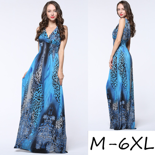 Summer Maxi Chiffon Bohemian Plus Size M-6XL Spaghetti Strap Loose Long Casual Elegant Beach Dress.