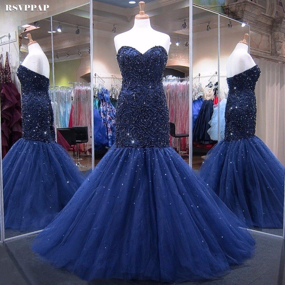 Vestito Da Sera lungo 2018 Reale Della Sirena Dell'innamorato Ha Bordato Cristalli Donne Africano Navy Blu Abiti Da Sera Formale robe de soiree