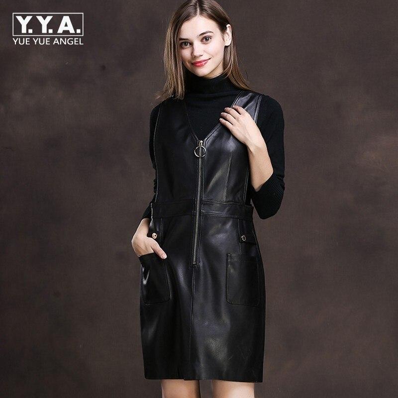 Kadın Giyim'ten Elbiseler'de 2019 Bahar Kadın Siyah Kırmızı Koyun Derisi Hakiki deri kayışlar Elbiseler Kolsuz Bir Çizgi Mini Sundress Fermuar Kaya Parti Vestidos'da  Grup 1