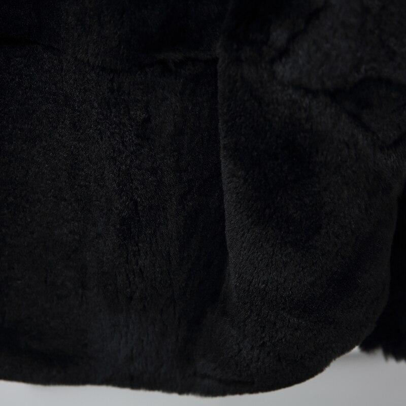 Rex Nouveau À Fermeture Femmes Grande Taille 2019 Éclair De Naturel Manteaux Réel Capuchon Fourrure Vestes D'hiver Outwear Lapin Black En X8vdqw
