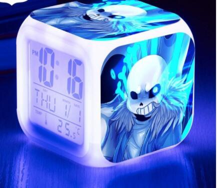 Under table LED Alarm Clock wekker reveil Kid Bedroom Digital Alarm Clocks  Watch 7 Color Flash reloj despertador de cabeceira-in Alarm Clocks from