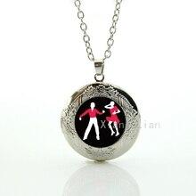 Elegant Lady and gentleman ballroom dancing locket necklace charm Latin dance rumba samba cha-cha dancers pendant necklace DC046