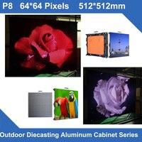 TEEHO high brightness 7000nits P8 Outdoor waterproof led display Diecasting Cabinet 512mm*512mm 64*64dots rental slim video wall