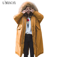 Fashion Winter Long Jacket Women Cotton 2017 Real Fur Hooded Warm Thick Parka Coat clothes Cotton Outerwear casaco feminino